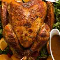 Juicy Roast Turkey fresh out of the oven with turkey gravy and cranberry