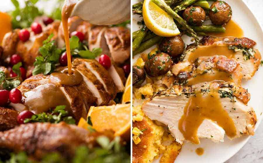 Roasted turkey and slow cooker turkey gravy