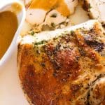 Overhead photo of Slow Cooker Garlic Herb Turkey Breast