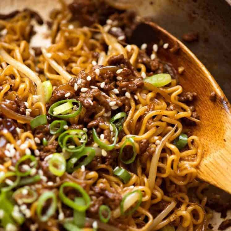 Close up of Quick Asian Beef and Noodles fresh off the stove, ready to be served