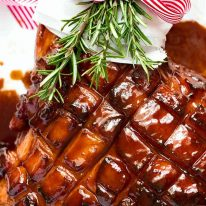 Overhead photo of Christmas Ham - Brown Sugar Ham Glaze for Glazed Ham