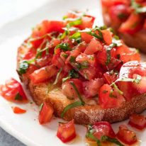 Bruschetta on a plate, ready to be eaten
