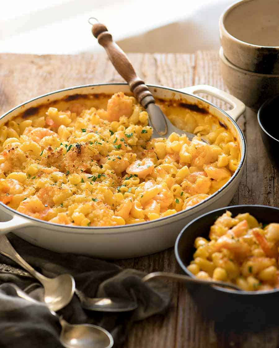 Garlic Shrimp Mac and Cheese being served