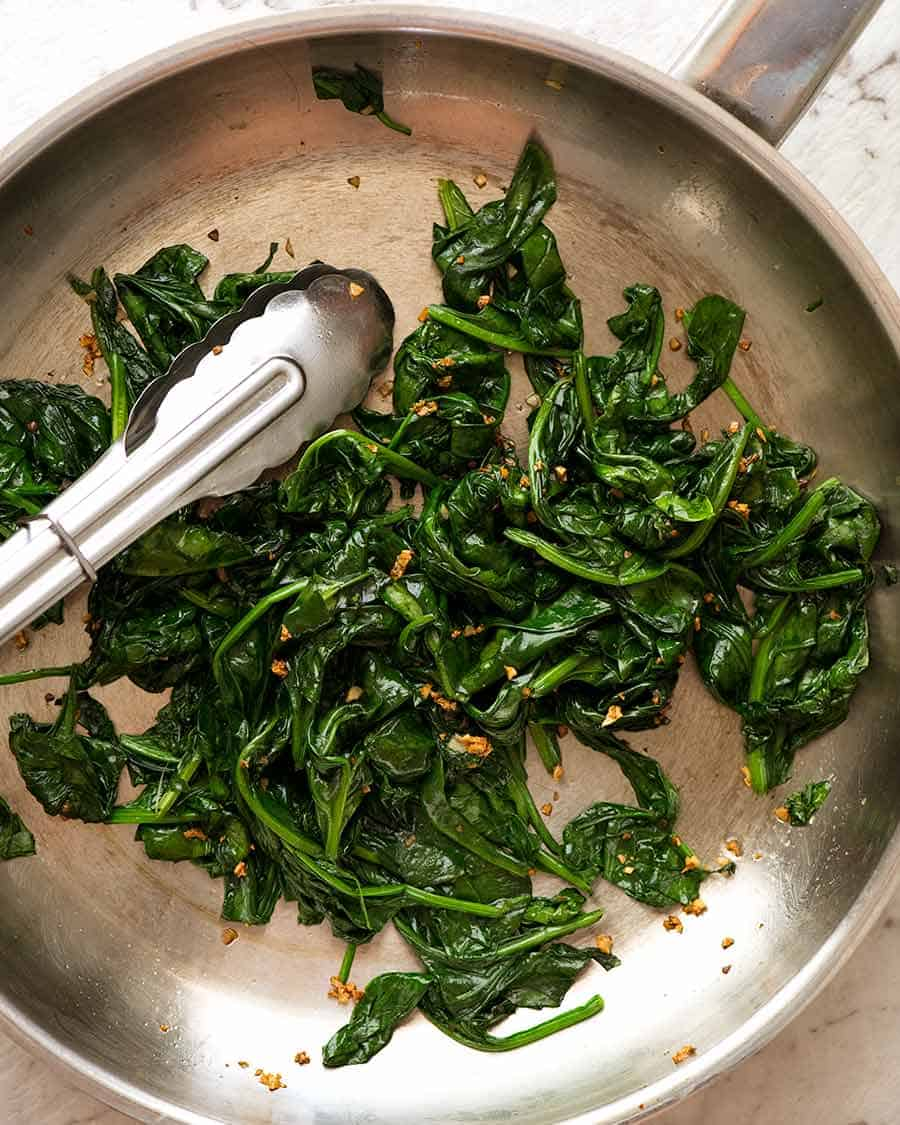 Overhead photo of Garlic Sautéed Spinach