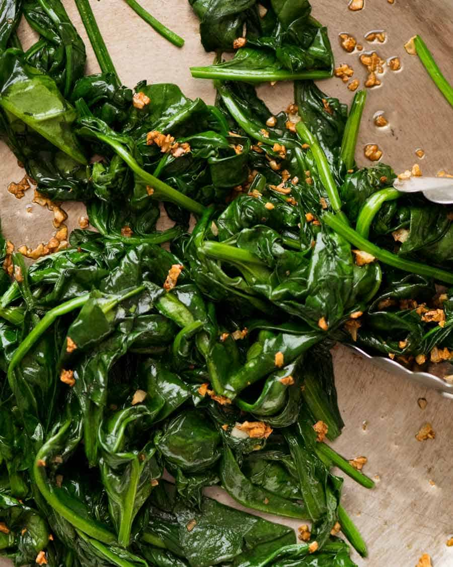 Close up of Garlic Sautéed Spinach
