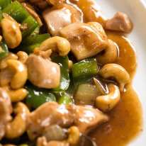Close up of takeout style Cashew Chicken