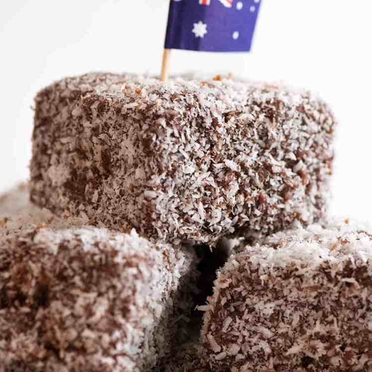 Pile of Lamingtons with an Australian flag