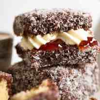Lamingtons filled with jam and cream