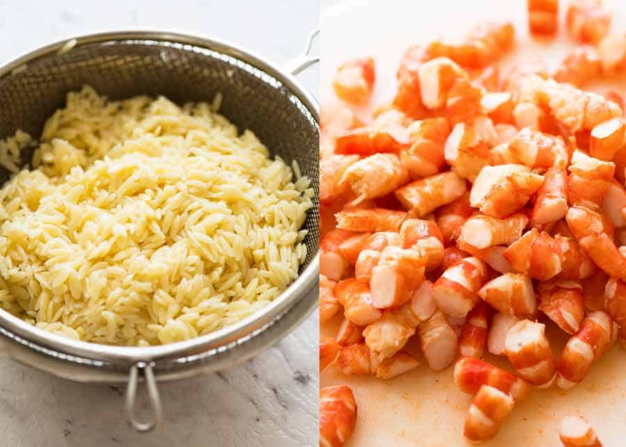 Risoni / orzo and shrimp
