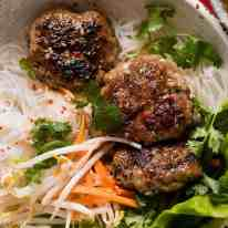 Overhead photo of Bun Cha - Vietnamese Meatballs noodle bowls, ready to be eaten