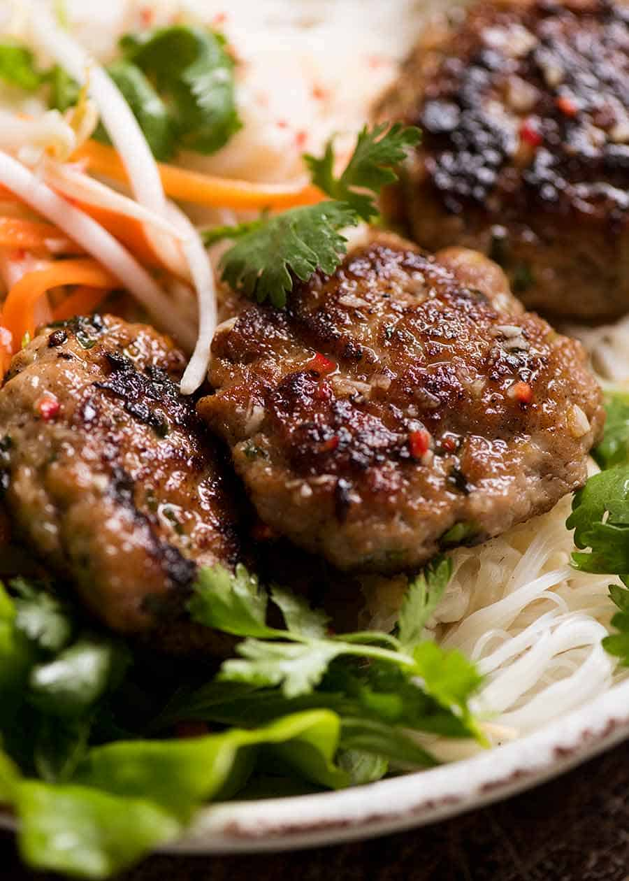 Close up of Bun Cha - Vietnamese Meatballs