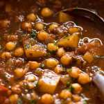 Close up of Indian chickpea curry in a pot