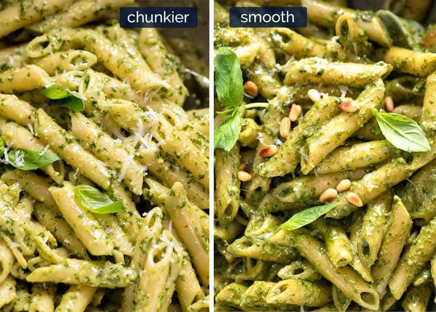 Comparison and chunkier vs smooth pesto pasta
