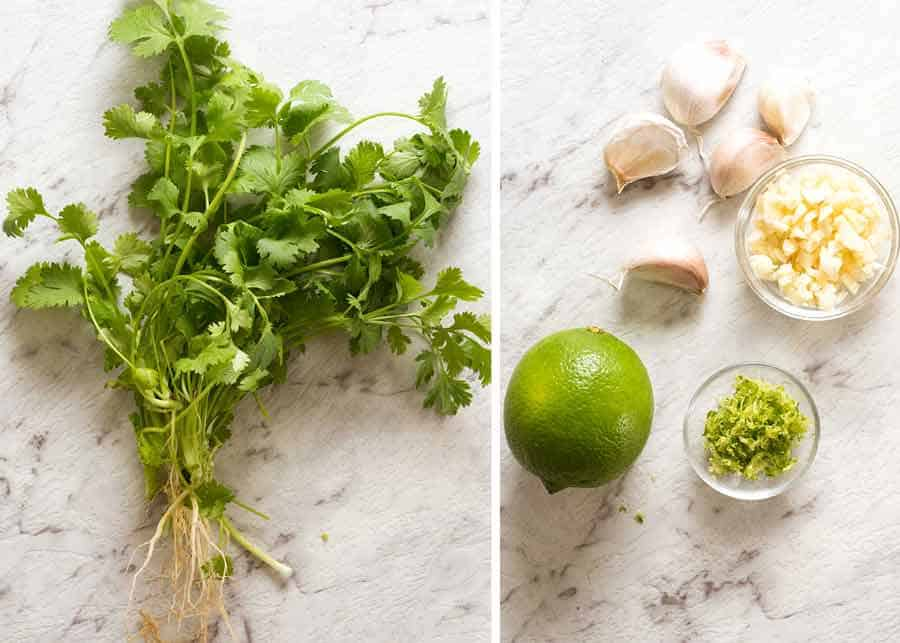 Coriander garlic and lime