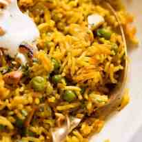 Close up of Curried Rice made with basmati rice