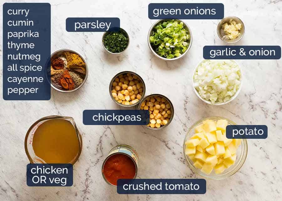 Ingredients in Chickpea Curry