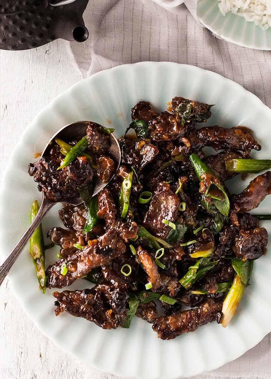 Sticky crispy Mongolian Beef