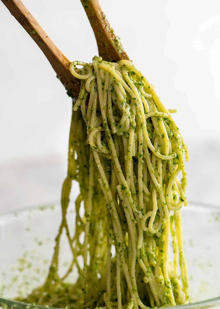 Tossing pesto pasta