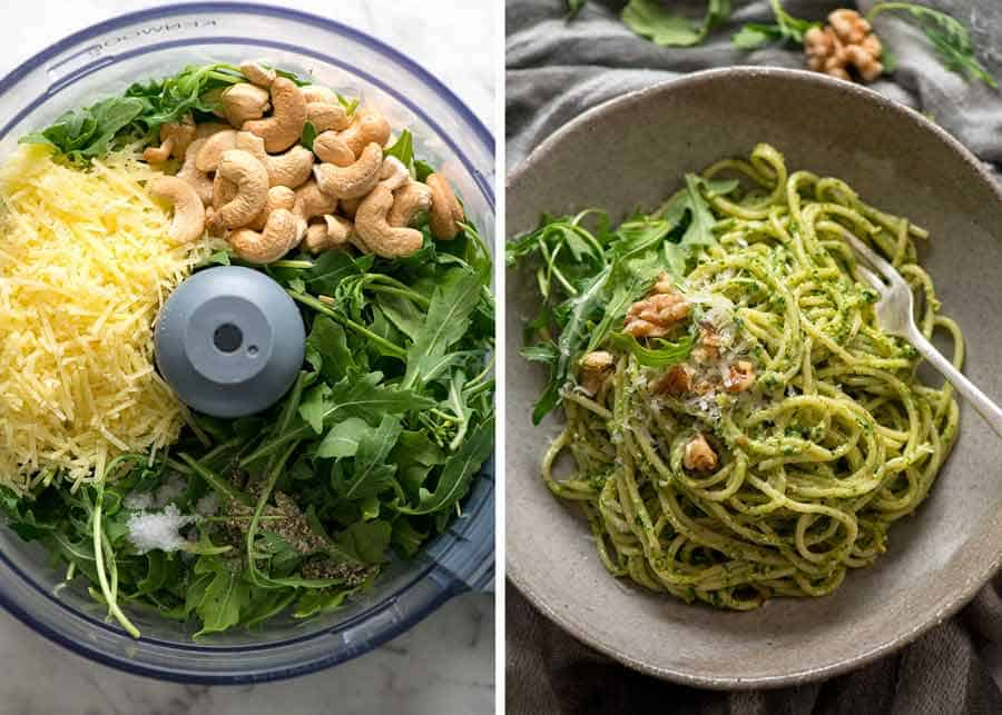 Pesto with rocket arugula and cashews or walnuts in a rustic bowl, ready to be eaten