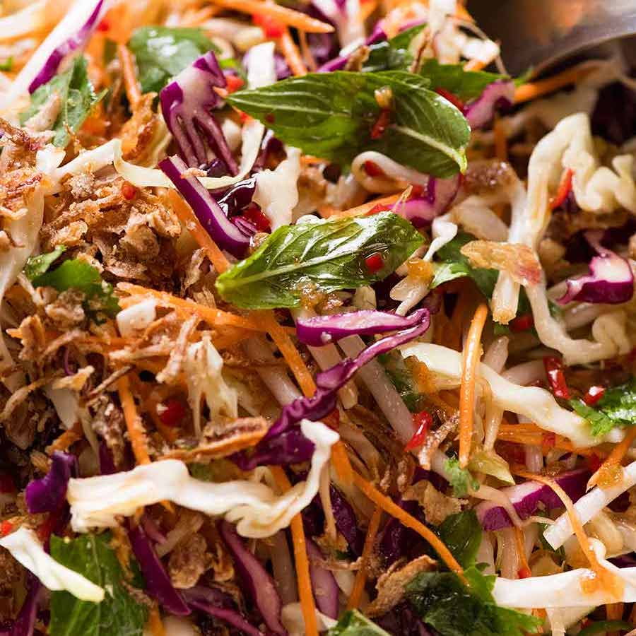 Asian Slaw - crunchy Oriental Cabbage Salad with Asian Dressing