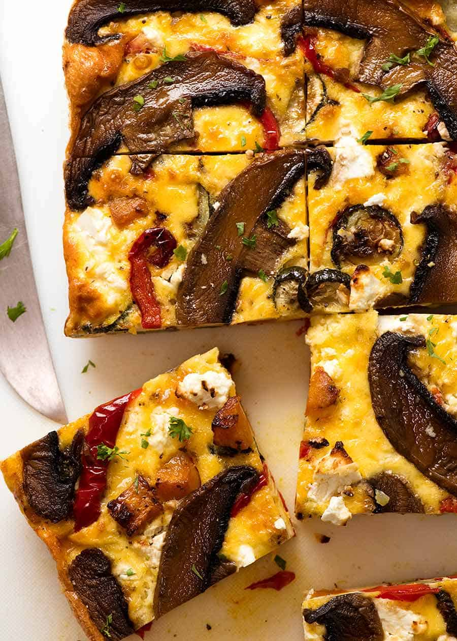 Close up slice of Baked Frittata with Roasted Vegetables