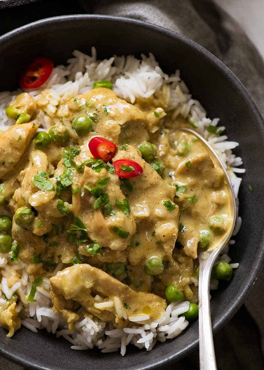 Close up of simple Chicken Curry over rice, ready to be eaten