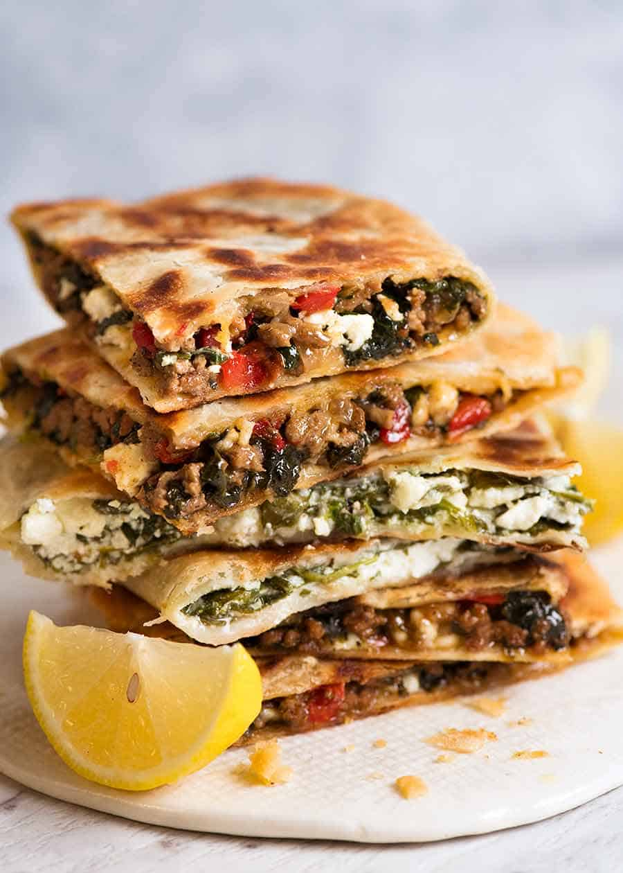 Stack of Gozleme with Spinach and Feta, spiced Lamb or Beef filling