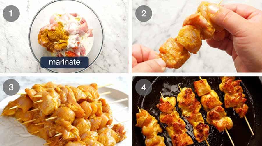 How to make Thai chicken satay skewers