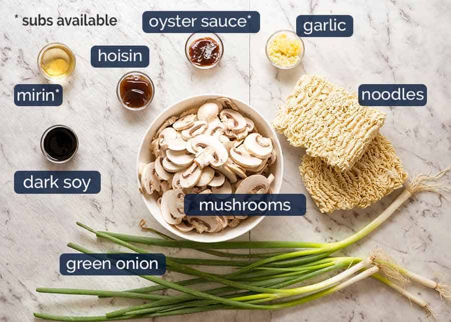 Ingredients in Asian Mushroom Ramen Noodles