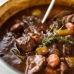Close up of Irish Beef Guinness Stew in a pot, fresh off the stove