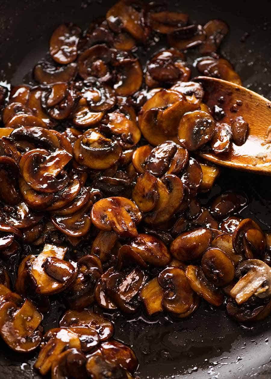 Close up of caramelised Asian Mushrooms for Asian Mushroom Ramen Noodles
