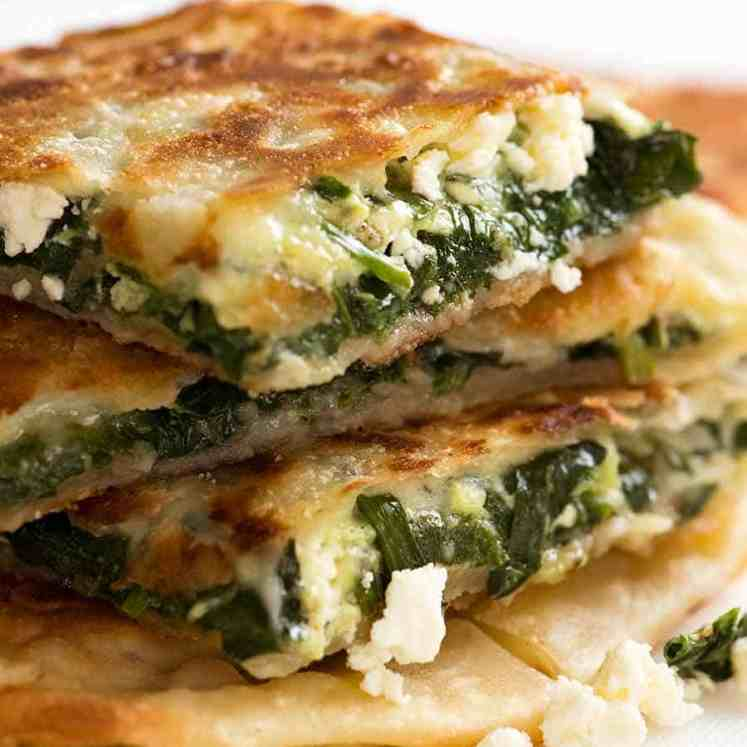Stack of Spinach and Feta Gozleme