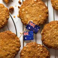 Close up of Australian Anzac biscuits