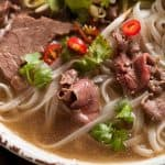 Close up of beef in beef pho