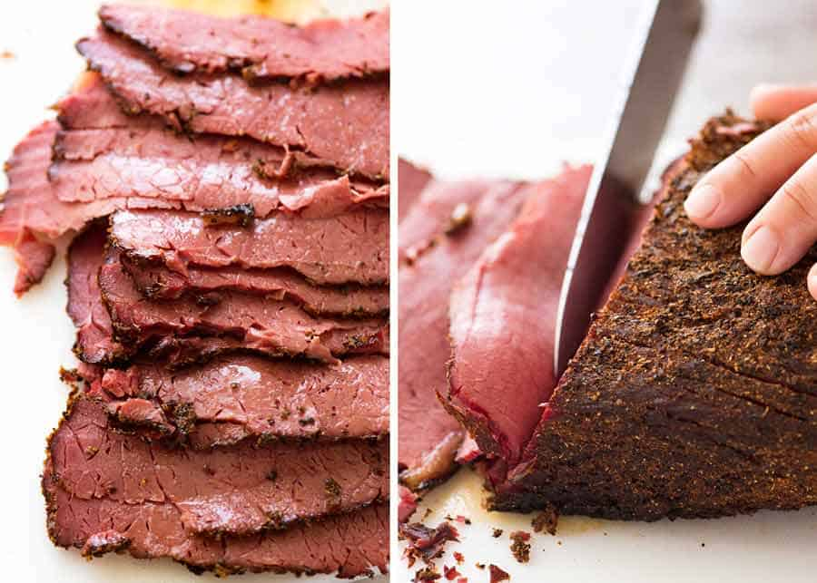 Slices of Homemade pastrami (easy recipe, no smoker)