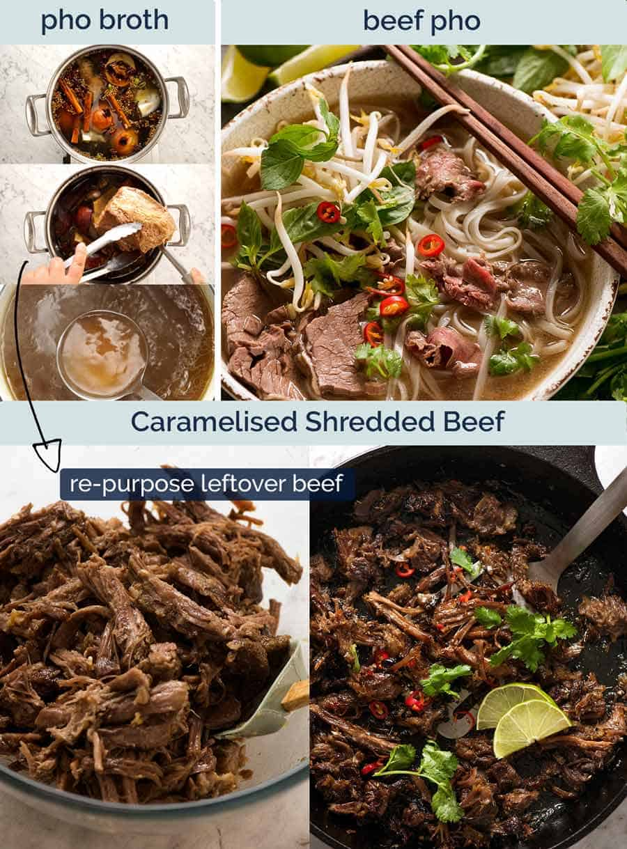 Leftover beef from Pho for Vietnamese Shredded Beef