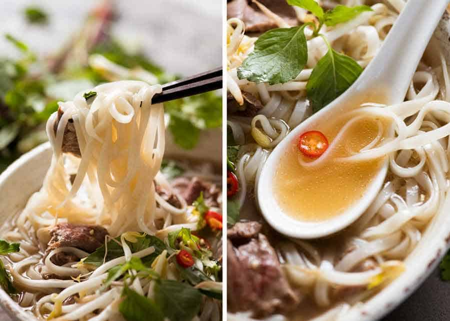 Pho noodles and soup broth