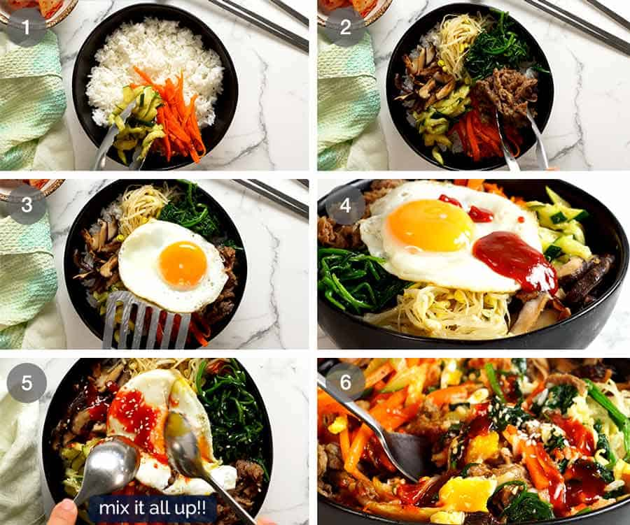 How to assemble Bibimbap
