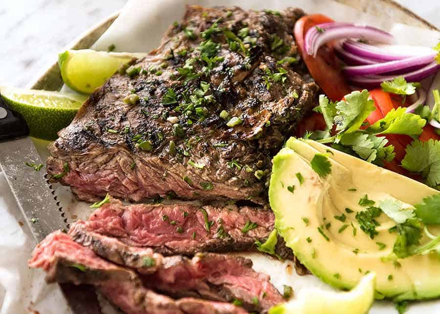 Carne Asada close up with avocado