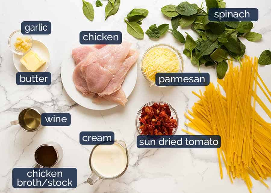 Ingredients in ultimate chicken pasta recipe