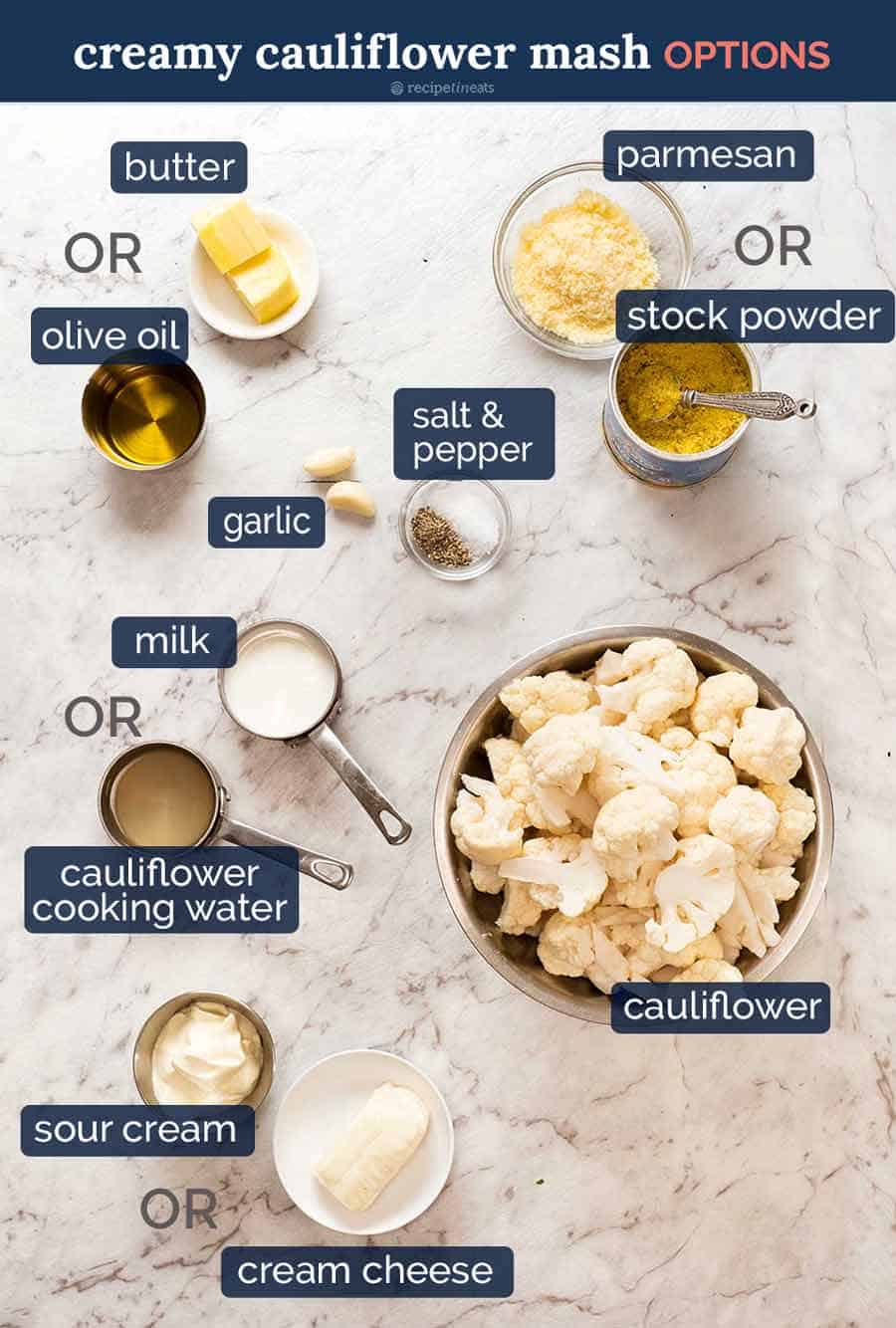 Ingredients in Creamy Mashed Cauliflower