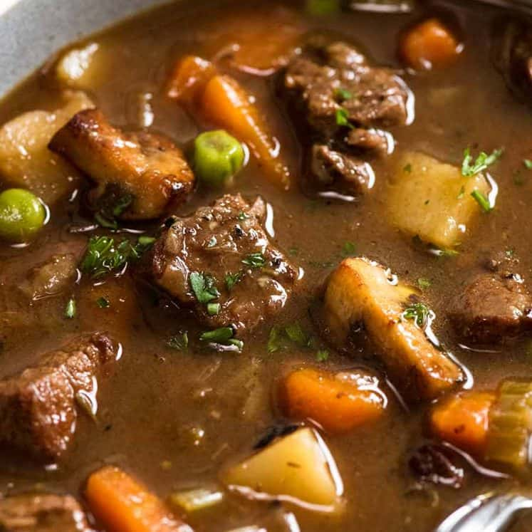 Close up photo of Vegetable Beef Soup with tender, slow cooked beef
