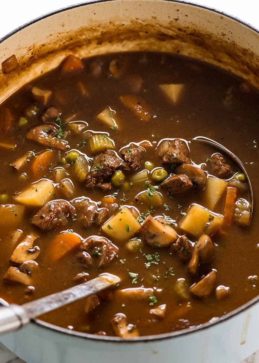 Beef Soup in a pot, fresh off the stove ready to be served