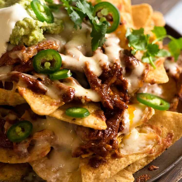 Close up of Chicken Nachos made tin Doritos corn chips