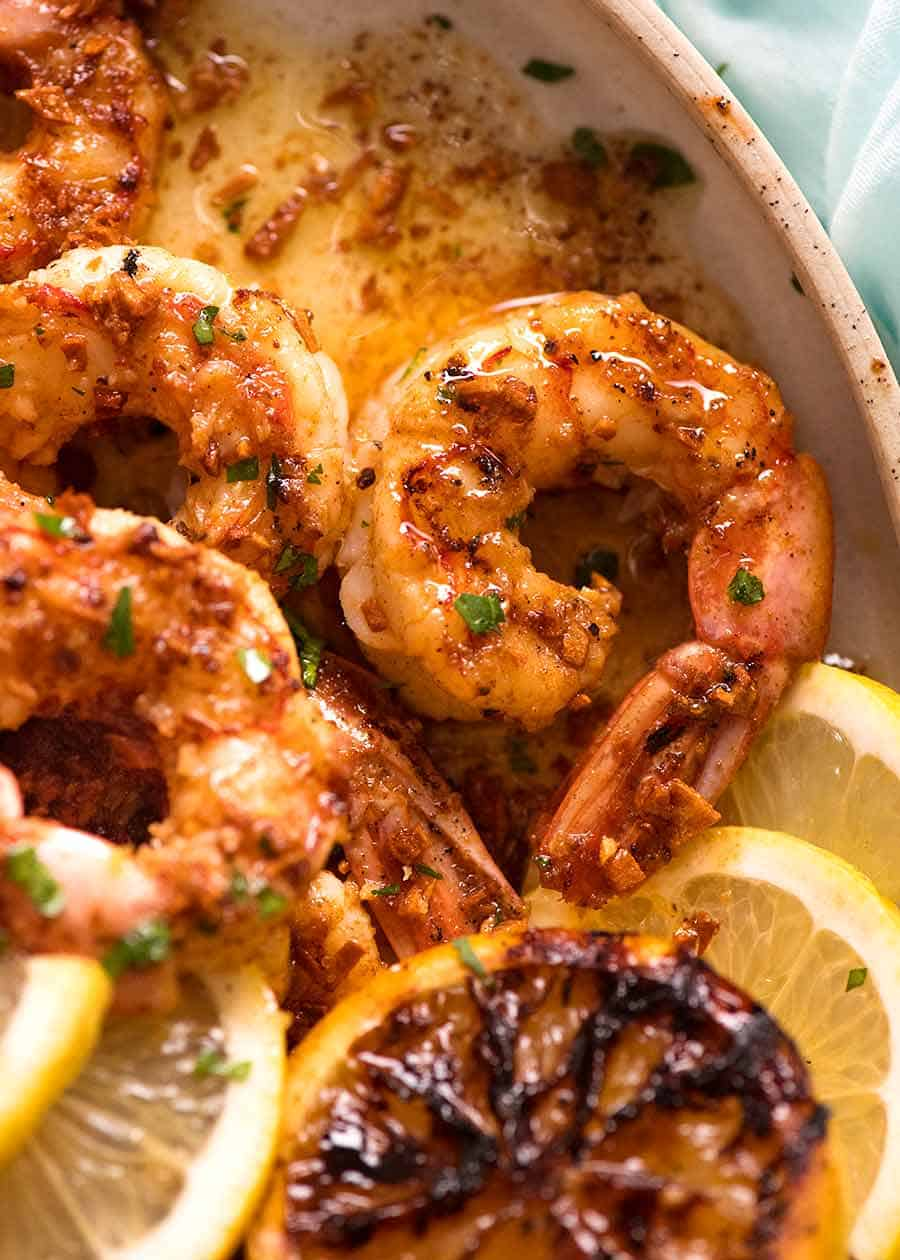 Crispy Grilled Shrimp Prawns With Lemon Garlic Butter