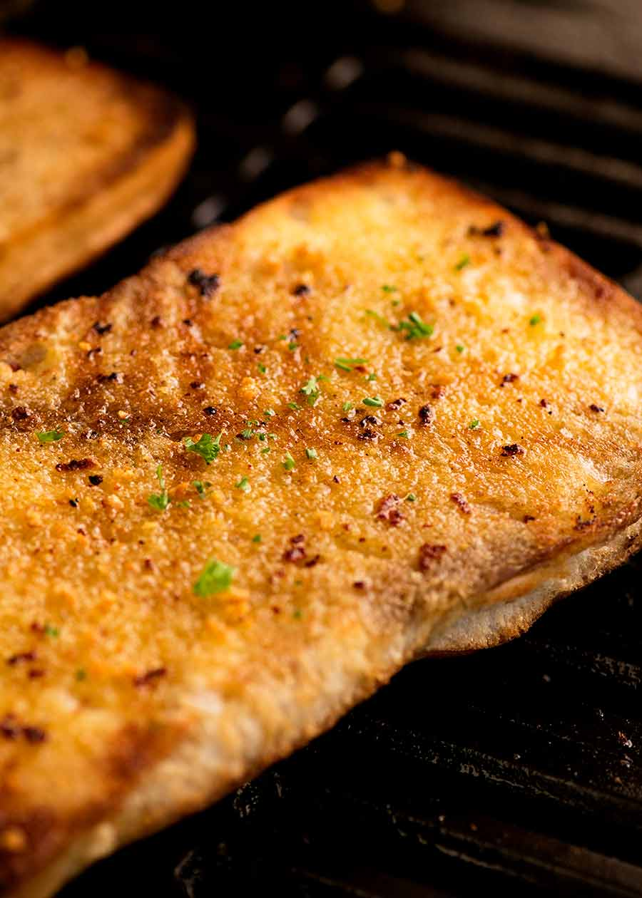 Garlic bread being grilled on BBQ
