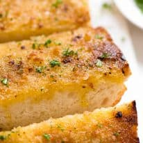 Close up of grilled garlic bread