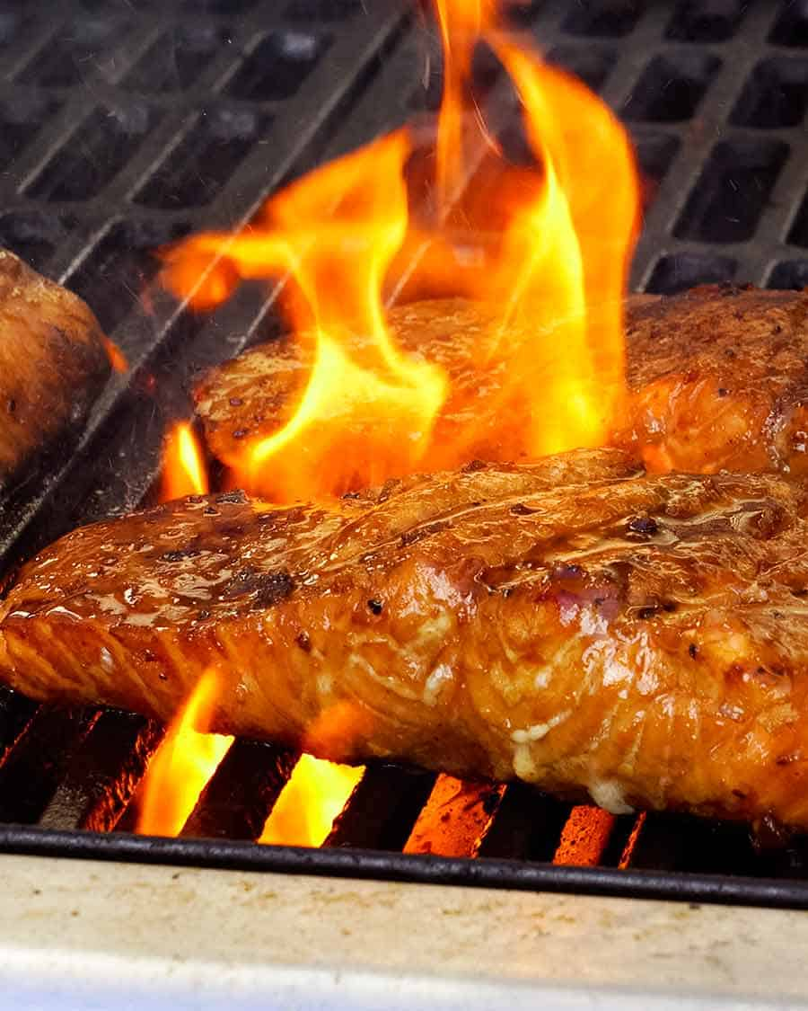 Marinated Grilled Salmon on BBQ