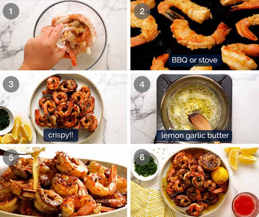 How to make Crispy Grilled Shrimp with Lemon Garlic Butter Sauce