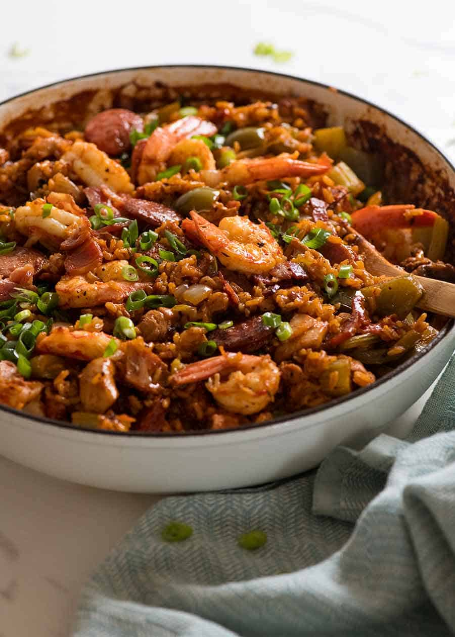 Jambalaya in a cast iron pot, ready to be served